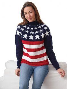 Stars and Stripes Pullover | Yarn | Free Knitting Patterns | Crochet Patterns | Yarnspirations