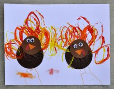 Cupcake Liner Turkeys #2 - - pinned by @PediaStaff – Please Visit ht.ly/63sNtfor all our pediatric therapy pins