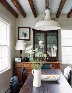 dining rooms, dine room, exposed beams, cabinet, ceilings