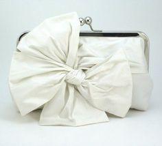 Ivory Bridal Clutch / Bow Clutch / Ivory Wedding