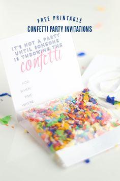 DIY #Confetti #Party Invitations with free printable @ConfettiSunshine