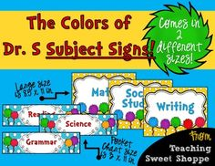 Inspired by the colors of Dr. Seuss, these are some fun and bright subject signs to head your bulletin boards! Signs come in 2 different sizes, 11 x 8.5 in and 11 x 3 in.  Subjects include:  *Reading *Writing *Grammar *Literacy *ELA *Math *Spelling *Phonics *Science *Social Studies