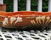 Roseville Brown Freesia Platter rosevill brown, freesia platter, brown freesia