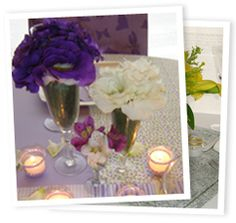 :: Centros de mesa con copitas, canutillos & mantel patchword ::  www.floriditas.com.ar