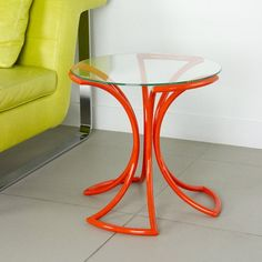 A pop of color (our favorite… Tangerine tango) right beside the bed. color design, studios, modern furnish, glass, studio simic, end tables, furnitur, flowers, design decodesign