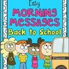 Ten morning messages with a Back to School theme that are aligned with Common Core are included in this packet. These work great for emergency sub plans.  $