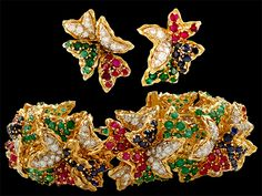 18kt. Yellow Gold Diamond, Sapphire,Ruby & Emerald Bracelet & Earrings