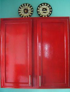 Red cabinets with turquoise walls? (Kitchen)