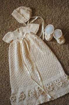 Crochet christening dress, bonnet, booties.