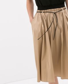 Image 6 of POPLIN SKIRT WITH ELASTIC WAISTBAND from Zara