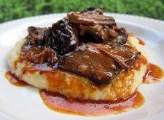 BBQ Pot Roast over Cheddar Ranch Grits | Plain Chicken