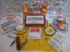 An assortment of Altoid Tin Survival Kits - hello stocking stuffers! tin surviv, camping, survival kits, tins, altoid tin, altoid surviv, apples, surviv kit, kids