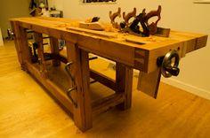 10 foot split-top Roubo bench, old-growth Oregon red fir - Vic Hubbard, Tumblewood blog