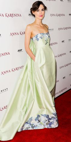 Keira Knightley made an entrance at the L.A. premiere of Anna Karenina in an embroidered Erdem gown and diamond studs.