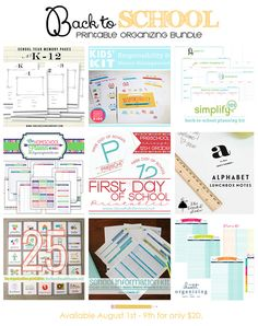 IHeart Organizing: HUGE Back-To-School Printable Organizing Bundle!  let girls know about this