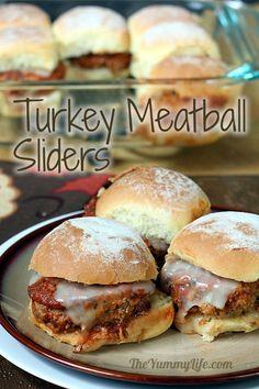 Easy, make-ahead Turkey Meatball Sliders. A crowd pleasing party food. Kid-friendly, too! www.theyummylife.com/Turkey_Meatball_Sliders