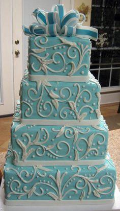 Tiffany & Co Themed Wedding Cake