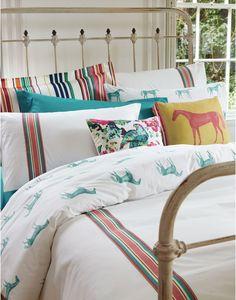 DUVETHORSE Reversible Ribbon Stripe Horse Duvet Cover - loving joules new bedding range!!