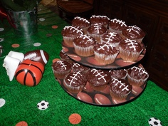 Football cupcakes! Sports theme baby shower