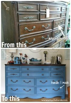 Amazing transformation for this old beat up thrift store dresser!!! Aubusson Blue Chalk Paint (my favorite!!) PLUS Missing Handle I Made to Match!!