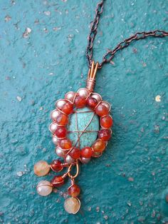 Wire wrapped magnesite, carnelian and pearl pendant necklace
