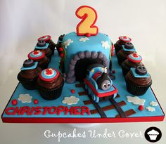 Thomas the Train Cake & Cupcakes by ~Cupcakes Under Cover~, via Flickr