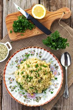 "A Cauliflower Risotto recipe made up of ""superfoods"" like nutritional yeast, miso paste and cauliflower instead of cheese, cream, and rice. An easy and super healthy option for a delicious lunch…"