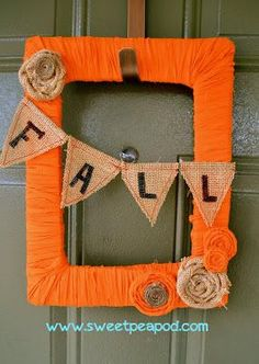 DIY FREE wreath DIY Fall Decor DIY Home Decor- I love it not your average round wreath, tho I'd do the flowers different and maybe leaves and an accent bow