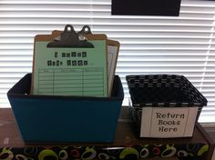 classroom library. I also saw a cool idea with every student having a notecard in a pocket with their name on it and each time they borrowed a book, they wrote the title and author on the card. Easy way to keep track of each child's reading as well