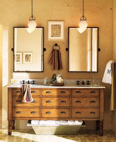 Double sink and mirror bathroom idea