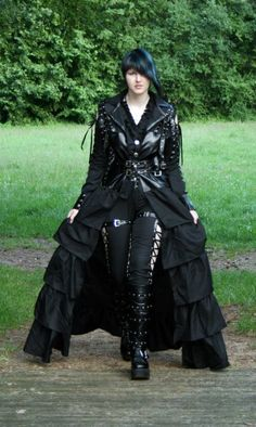#Goth girl in duster jacket