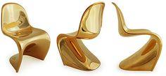 Limited Edition Mini Panton Chairs in metallic gold