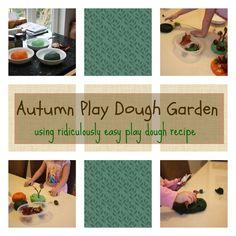 Autumn Play Dough Garden - using ridiculously easy play dough recipe #kids #kidsactivities #playdo #creative #montessori #nature #fall #halloween #fallcrafts #animals #imagination
