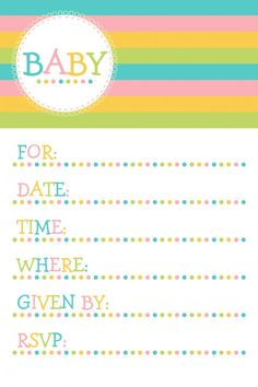 Baby shower party invite - free printable