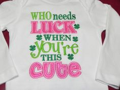 St. Patrick's Day Outfit -- WHO needs LUCK when You're this CUTE. $ 23.95, via Etsy.