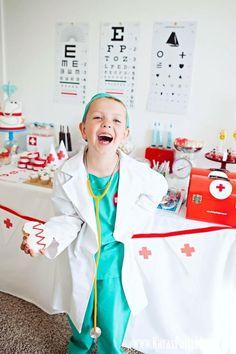 Doctor Nurse themed birthday or graduation party via Kara's Party Ideas www.KarasPartyIdeas.com #cookies #doctorparty #nurse #scrub #freeprintables #docmcstuffins #party #ideas