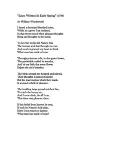 lines written in early spring by william wordsworth essay Romantic period, william wordsworth (essay  -lines written in early spring  their impact on society and government during the early decades of the.