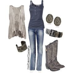 """Minus the fringe vest though.......""""On the Road Again"""" by endlessclosets on Polyvore"""