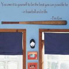 I like the idea of mounting a bat over the window or a doorway for a baseball room.