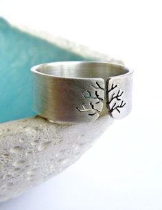 Autumn tree ring sterling silver ring.