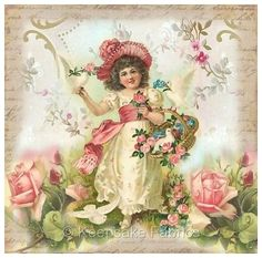 Whimsy Dust Girl Doves & Roses Quilt Block Multi Szs FrEE ShiP WoRld Wide