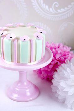 Cute Pastel Striped Tiny Flowers Cake