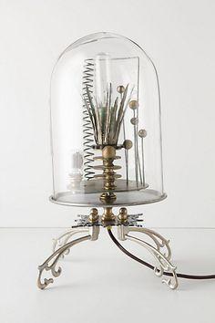 lamps, bell jars, kerplunk bell, idea, anthropologie, bells, jar lamp, steampunk, light