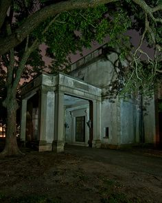 The back entrance to the sprawling semi-abandoned / disused / for sale Jim West  Mansion, next door to NASA in Clear Lake, Texas  (Houston suburb).