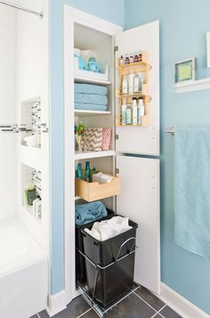 Take it slow or be a speed demon — this room-by-room approach to organizing and storage will get your home in shape no matter how you roll idea, hamper, bathroom storage, bathroom closet, small bathrooms, linen closets, laundry baskets, modern bathrooms, home improvements