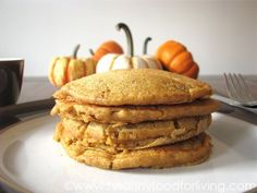 Pumpkin Spice Latte Pancakes from healthyfoodforliving.com