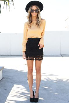 black lace skirt.