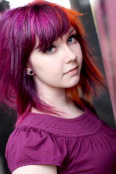 purple, orange hair