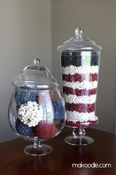 holiday, black beans, apothecary jars, fourth of july, decorating ideas, red white blue, 4th of july, jelly beans, apothecari jar