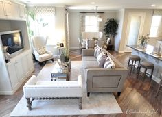 Calming family room - I love the calming effects of the the neutral colors...